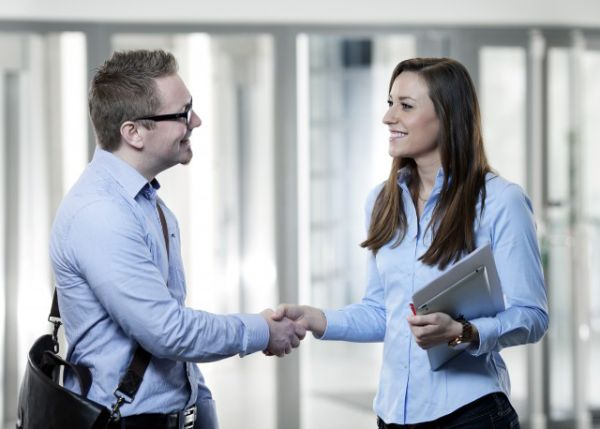 a businesswoman shaking hands with a businessman