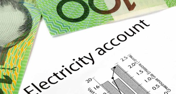 australian money on top of an electricity account